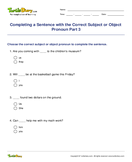 Completing a Sentence with the Correct Subject or Object Pronoun Part 3 - pronoun - Fifth Grade