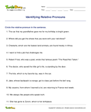 Identifying Relative Pronouns - pronoun - Fourth Grade