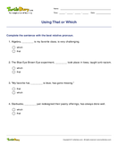 Using That or Which - pronoun - Fourth Grade