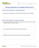 Change Fragments into Complete Sentence Part 2 - sentences - Fourth Grade