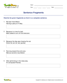 Sentence Fragments - sentences - Third Grade