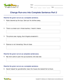 Change Run-ons into Complete Sentence Part 2 - sentences - Fourth Grade