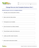 Change Run-ons into Complete Sentence Part 1 - sentences - Third Grade