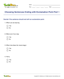 Choosing Sentences Ending with Exclamation Point Part 1 - sentences - Third Grade