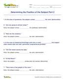 Determining the Position of the Subject Part 2 - sentences - Fourth Grade