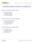 Identifying a Sentence as Complete or Incomplete Part 1 - sentences - Second Grade