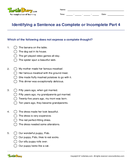 Identifying a Sentence as Complete or Incomplete Part 4 - sentences - Fifth Grade