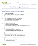 Identifying Complex Sentences - sentences - Third Grade