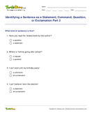 Identifying a Sentence as a Statement, Command, Question, or Exclamation Part 3 - sentences - Fourth Grade