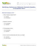 Identifying a Sentence as a Statement, Command, Question, or Exclamation Part 4 - sentences - Fifth Grade