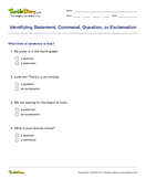 Identifying Statement, Command, Question, or Exclamation - sentences - Third Grade
