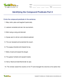 Identifying the Compound Predicate Part 3 - sentences - Fifth Grade