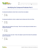 Identifying the Compound Predicate Part 2 - sentences - Fourth Grade
