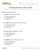 Identifying the Nature of Noun in Bold