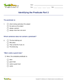 Identifying the Predicate Part 2 - sentences - Fourth Grade