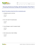 Choosing Sentences Ending with Exclamation Point Part 2 - sentences - Fifth Grade