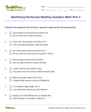 Identifying Sentences Needing Question Mark Part 2 - sentences - Fifth Grade