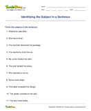 Identifying the Subject in a Sentence - sentences - Third Grade