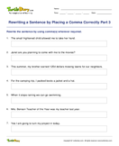 Rewriting a Sentence by Placing a Comma Correctly Part 3 - sentences - Fifth Grade
