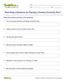 Rewriting a Sentence by Placing a Comma Correctly Part 1