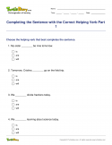 Completing the Sentence with the Correct Helping Verb Part 1 - verb - Fourth Grade