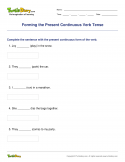 Forming the Present Continuous Verb Tense - verb - Fourth Grade