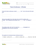 Future Continuous - A Review - verb - Fourth Grade