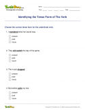 Identifying the Tense Form of The Verb - verb - First Grade