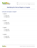 Identifying the Verb as Regular or Irregular - verb - Fourth Grade