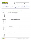 Completing the Sentence with the Correct Helping Verb Part 2 - verb - Fifth Grade