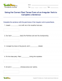 Using the Correct Past Tense Form of an Irregular Verb to Complete a Sentence