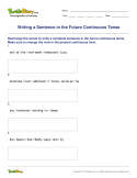 Writing a Sentence in the Future Continuous Tense - verb - Fourth Grade