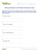 Writing a Sentence in the Present Continuous Tense - verb - Fourth Grade