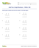 Add Two 2-digit Numbers - Within 100 - addition - Second Grade