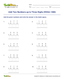 Add Two Numbers up to Three Digits (Within 1000) - addition - Third Grade