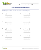 Add Two Three-digit Numbers - addition - Second Grade