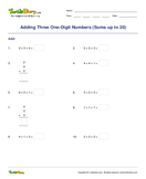 Adding Three One-Digit Numbers (Sums up to 20) - addition - First Grade