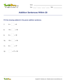 Addition Sentences Within 20 - addition - First Grade