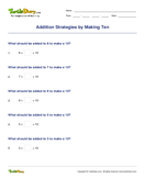 Addition Strategies by Making Ten - addition - First Grade
