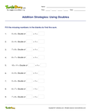 Addition Strategies: Using Doubles - mixed-operations - First Grade