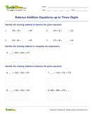 Balance Addition Equations up to Three Digits - addition - Third Grade