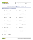 Balance Addition Equations - Within 100 - addition - Second Grade