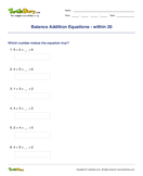 Balance Addition Equations - within 20 - addition - Second Grade