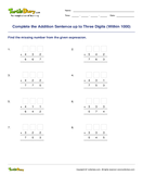Complete the Addition Sentence up to Three Digits (Within 1000) - addition - Third Grade