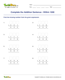 Complete the Addition Sentence - Within 1000 - addition - Second Grade