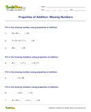 Properties of Addition: Missing Numbers - addition - Third Grade