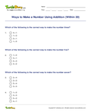 Ways to Make a Number Using Addition (Within 20) - addition - First Grade