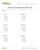 Divide by One-Digit Numbers (Within 100) - division - Third Grade