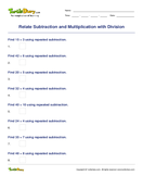 Relate Subtraction and Multiplication with Division - division - Third Grade