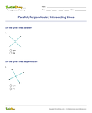 Parallel, Perpendicular, Intersecting Lines - angles - Fourth Grade